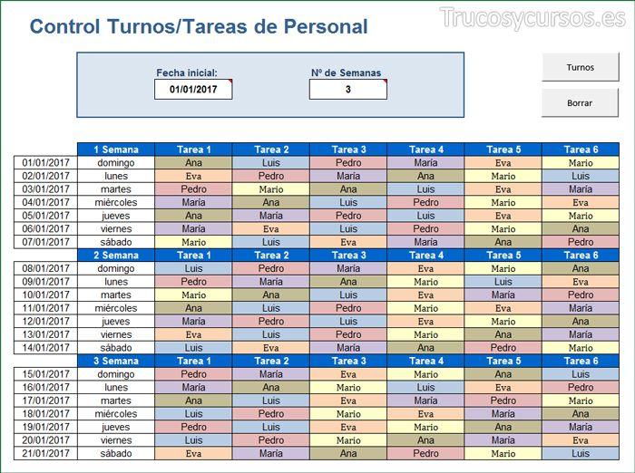 Asigna turnos / tareas a trabajadores para el mes en Excel ... - photo#14