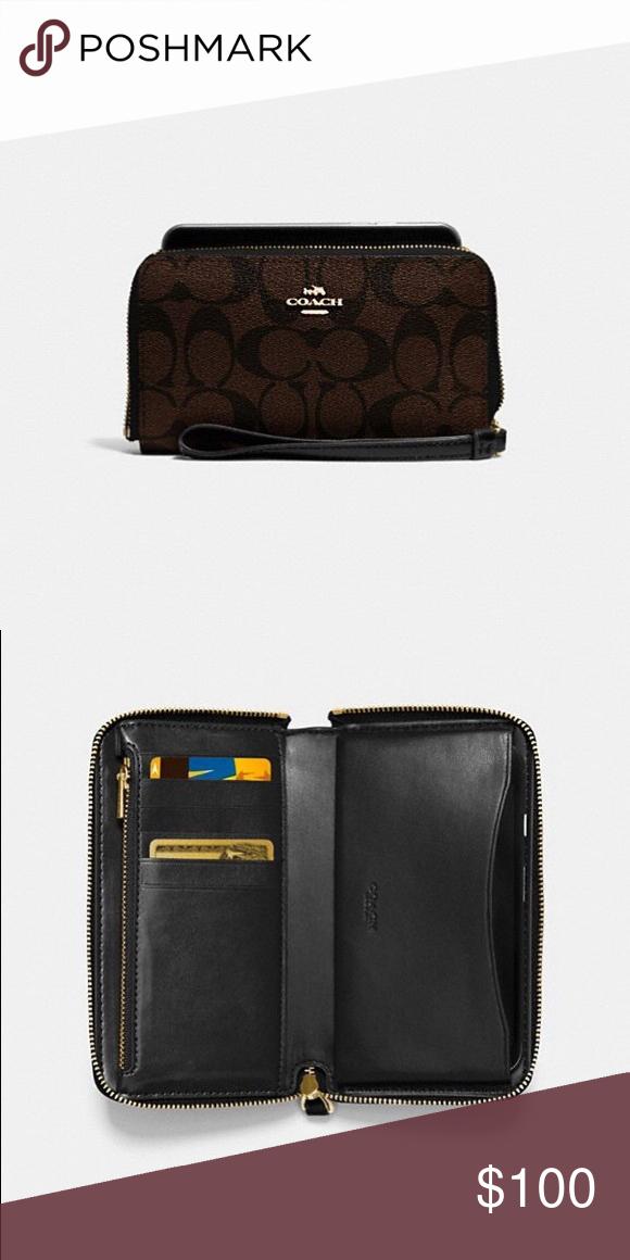 Coach Phone Wallet In Signature Canvas Color  brown  black  light gold Signature  coated c5a02df61e3e7
