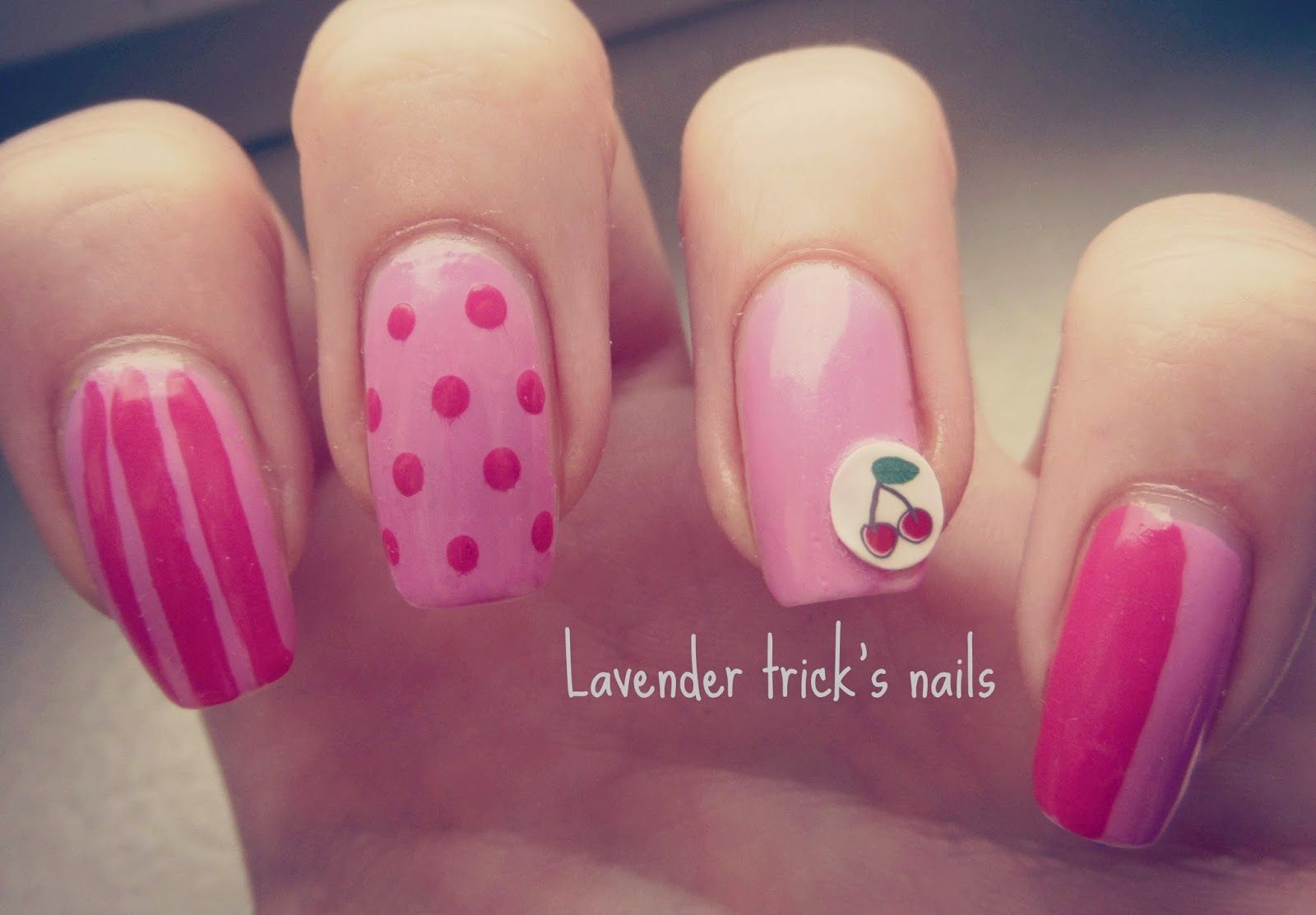 Lavender trick's nails: Dots, stripes and cherry polymer clay