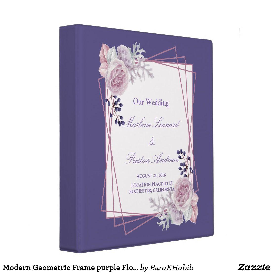 Modern Geometric Frame Purple Floral 3 Ring Binder