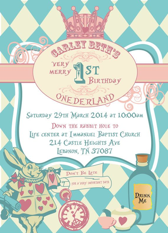 Alice In Onederland Invitations By Aplusdesign On Etsy 25 00