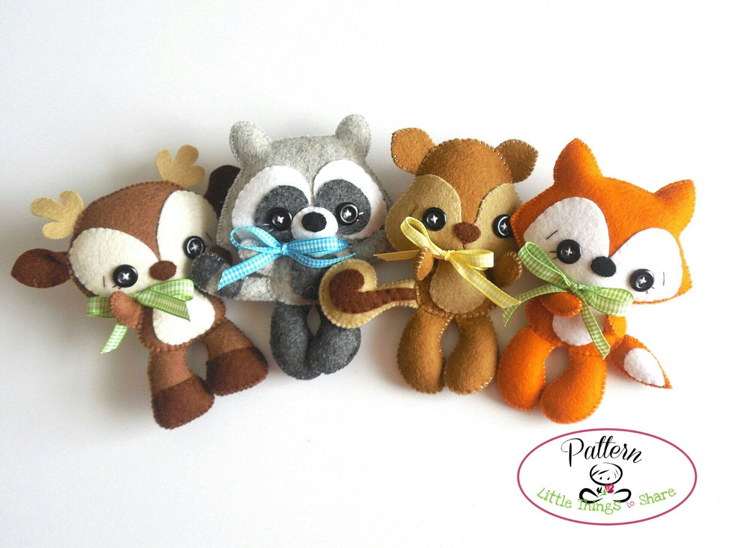 Woodland Animals set of Four PDF sewing pattern-Deer, Fox, Raccoon ...