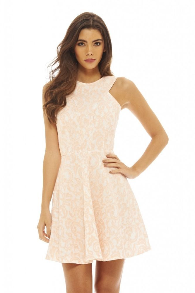 11606b6cff AX Paris Womens Pink Paisley Lace Skater Dress Glamorous Stylish Fashion