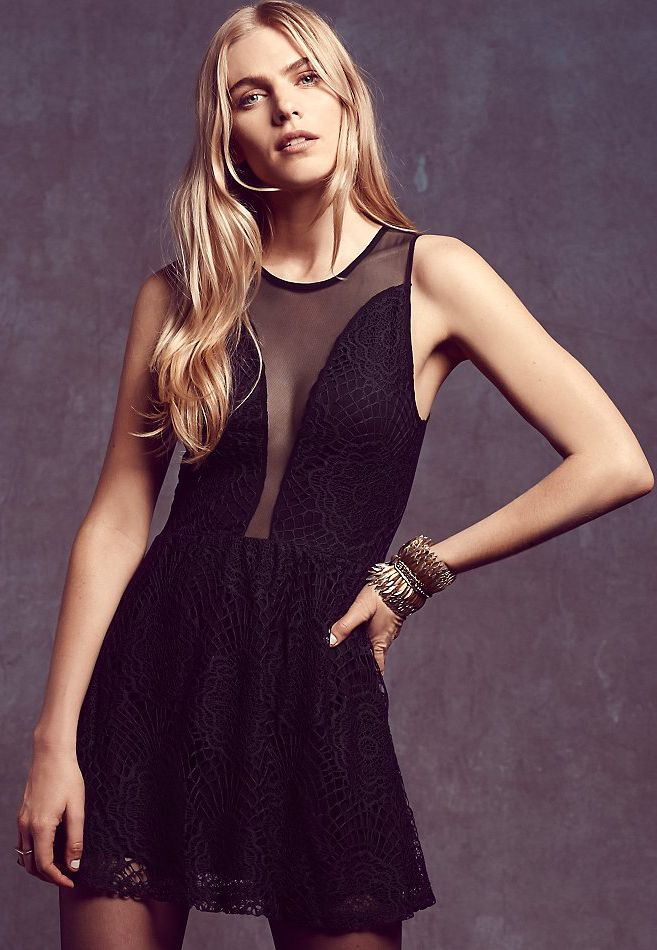 Sleeveless Sheer Mesh Embroidered Dress