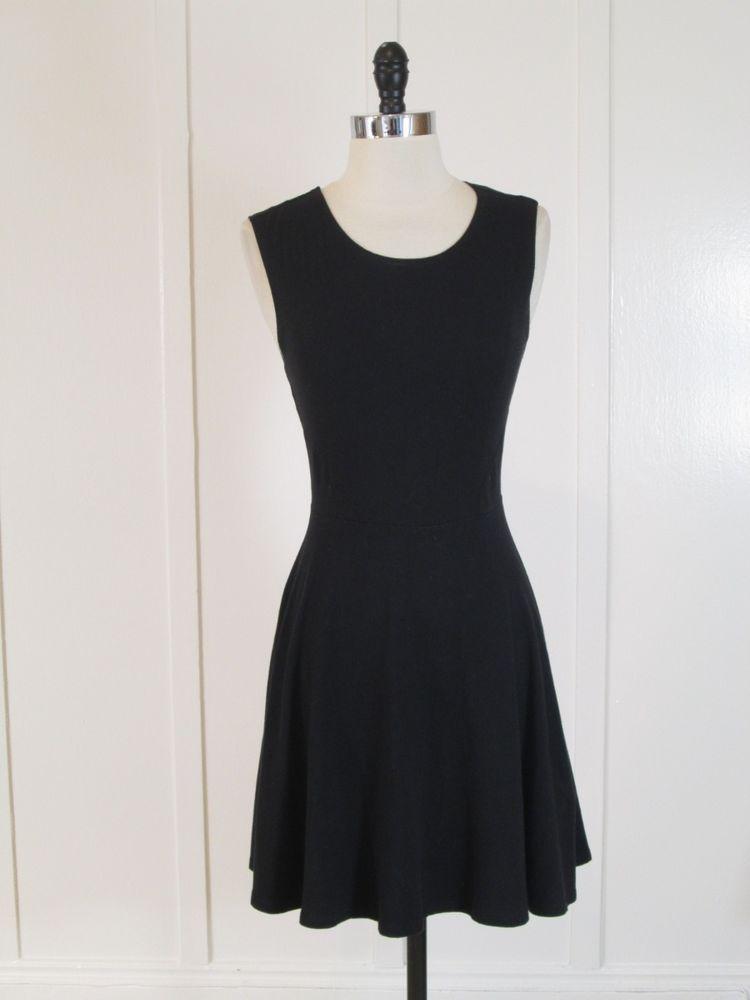 Forever 21 black jersey knit sleeveless scoop neck skater dress S #FOREVER21 #Sundress