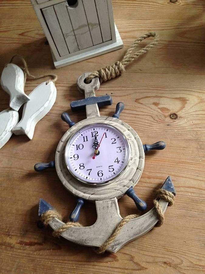 Nautical Wooden Driftwood Style Anchor Ship Wheel Boat Wall Clock   Boats    Pinterest   Ship Wheel, Driftwood And Wall Clocks