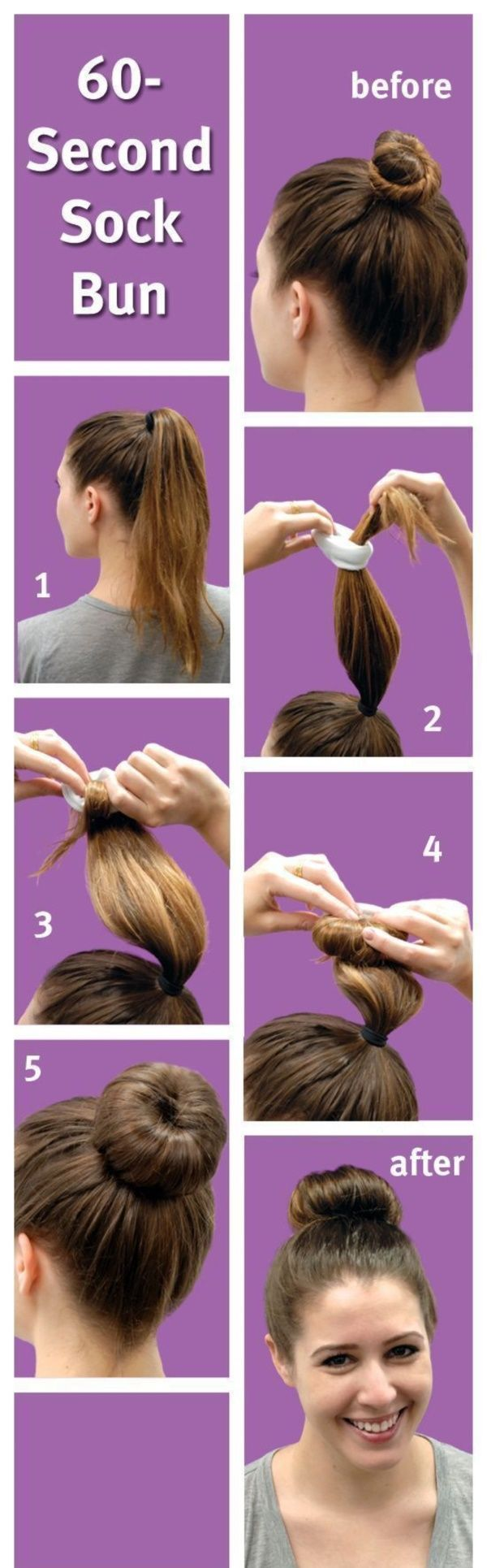60 Second Sock Bun Hairstyle For Working Women How To Make A Sock Bun Tutorials To Make Sock Bun Sock Bun Hairstyles Hair Bun Tutorial Thick Hair Styles
