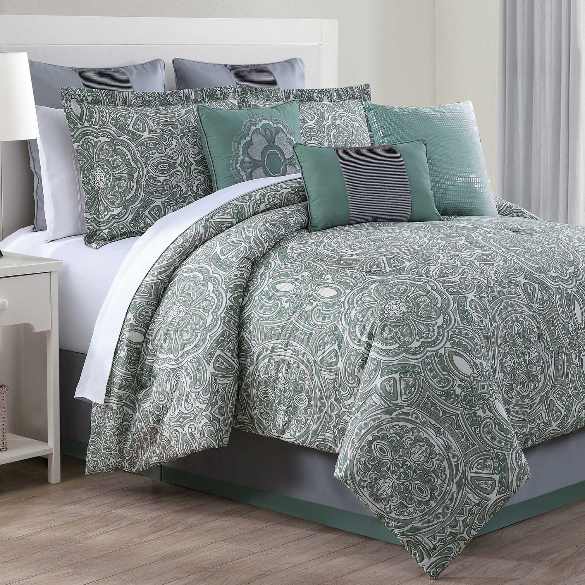 Clara 9 Piece Comforter Set In Green Grey Apartment Bed