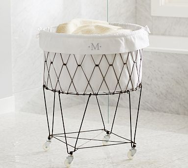 French Wire Hamper Amp Liner With Images Laundry Hamper