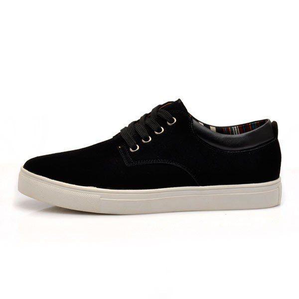 Big Size Men Suede Pure Color Lace Up Flat Casual Shoes