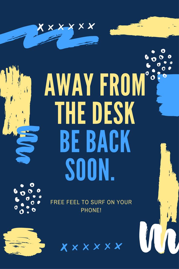 Away Desk Sign In Freestanding Tray Office Art Ideas
