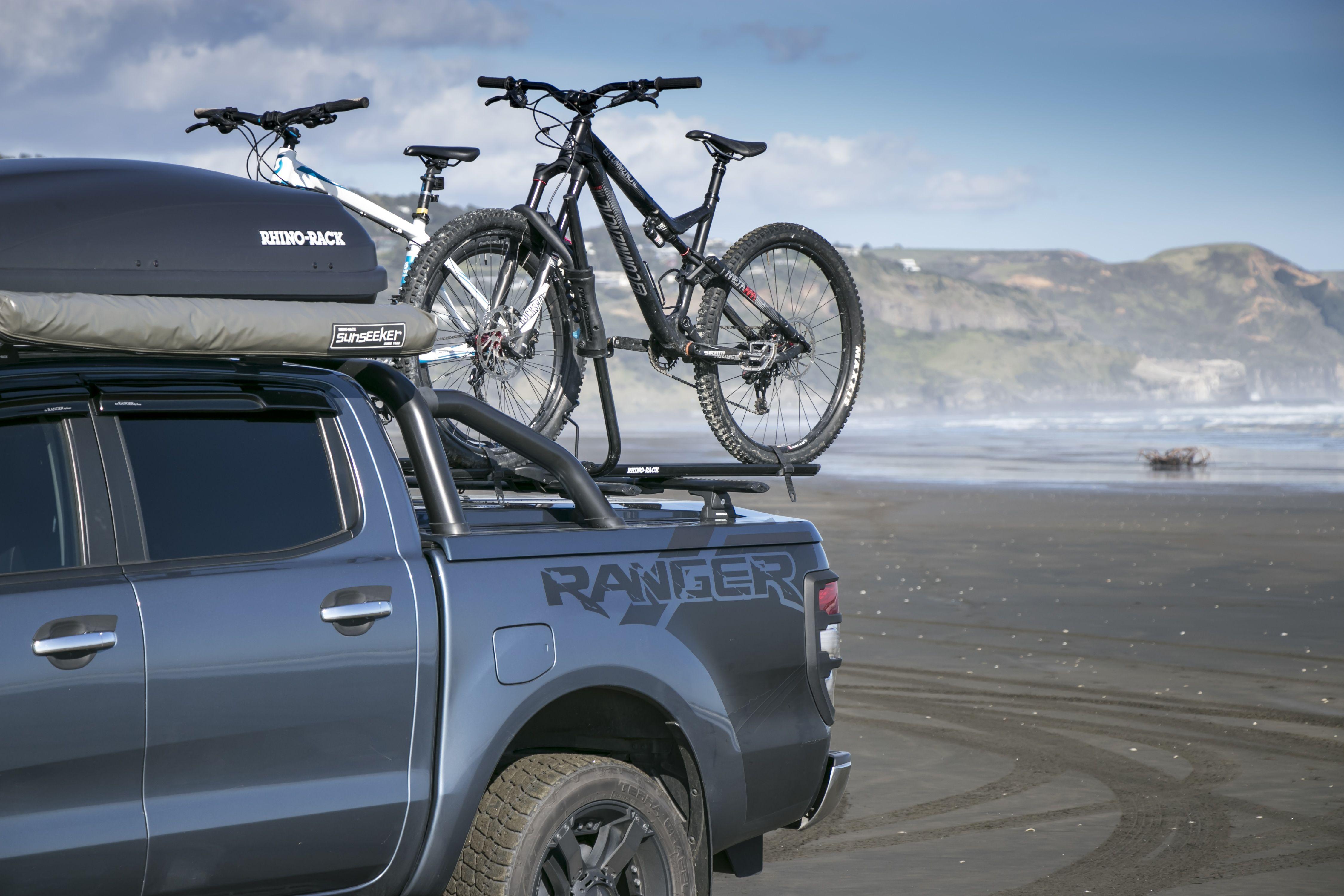 Camper Shell Side Mount Bike Racks Utilizing Unistrut Pickup