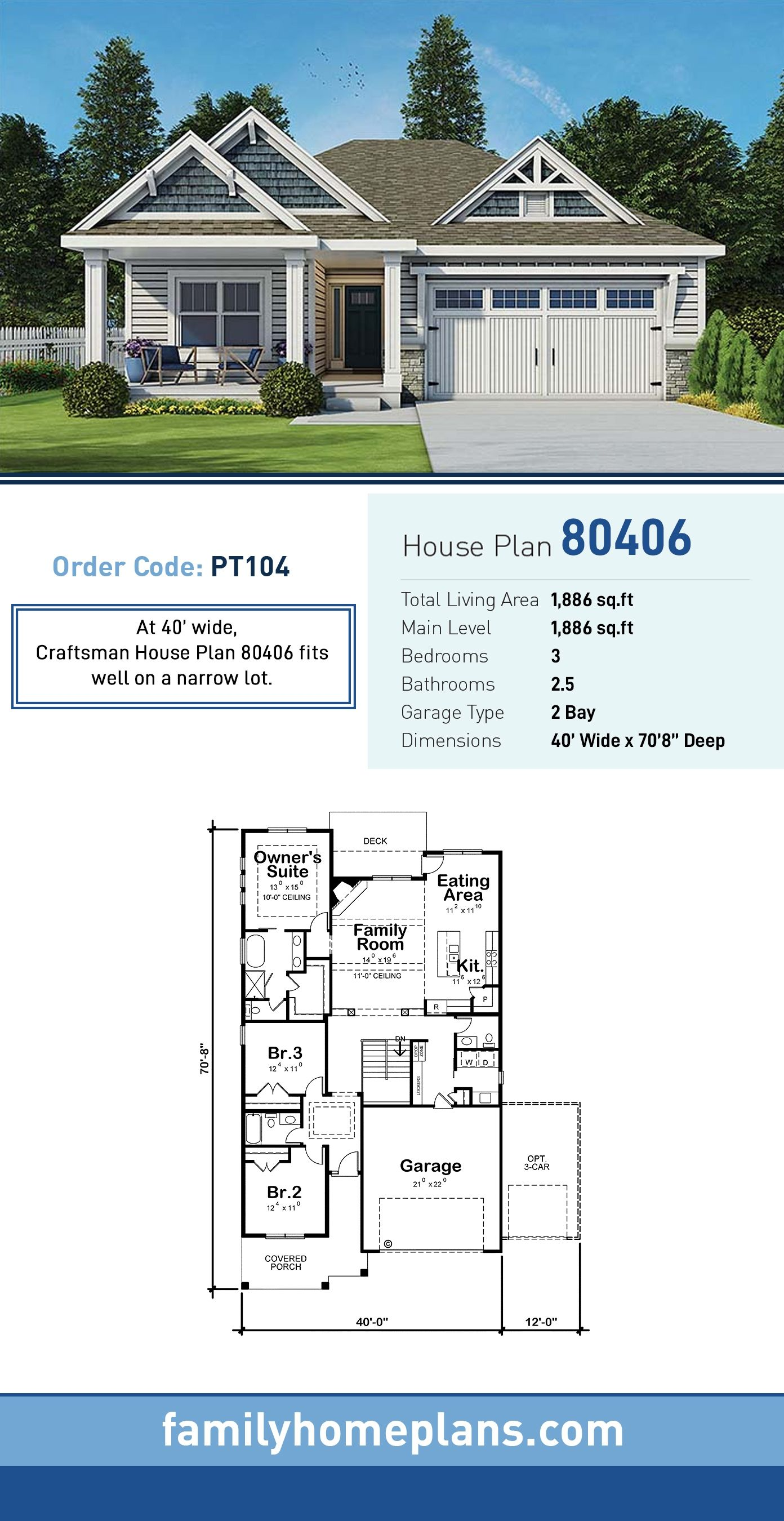 Traditional Style House Plan 80406 With 3 Bed 3 Bath 2 Car Garage Narrow Lot House Plans Craftsman House Narrow House Plans