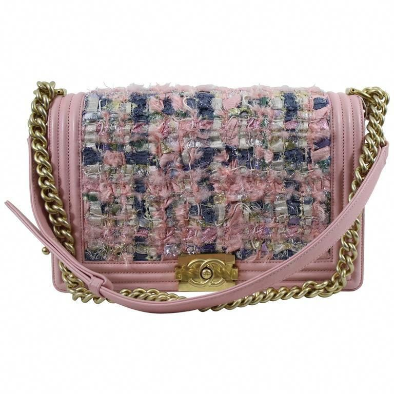 0c876f93b2a2 Chanel Pink Leather and Tweed Boy. Big size. Golden hardware #Chanelhandbags
