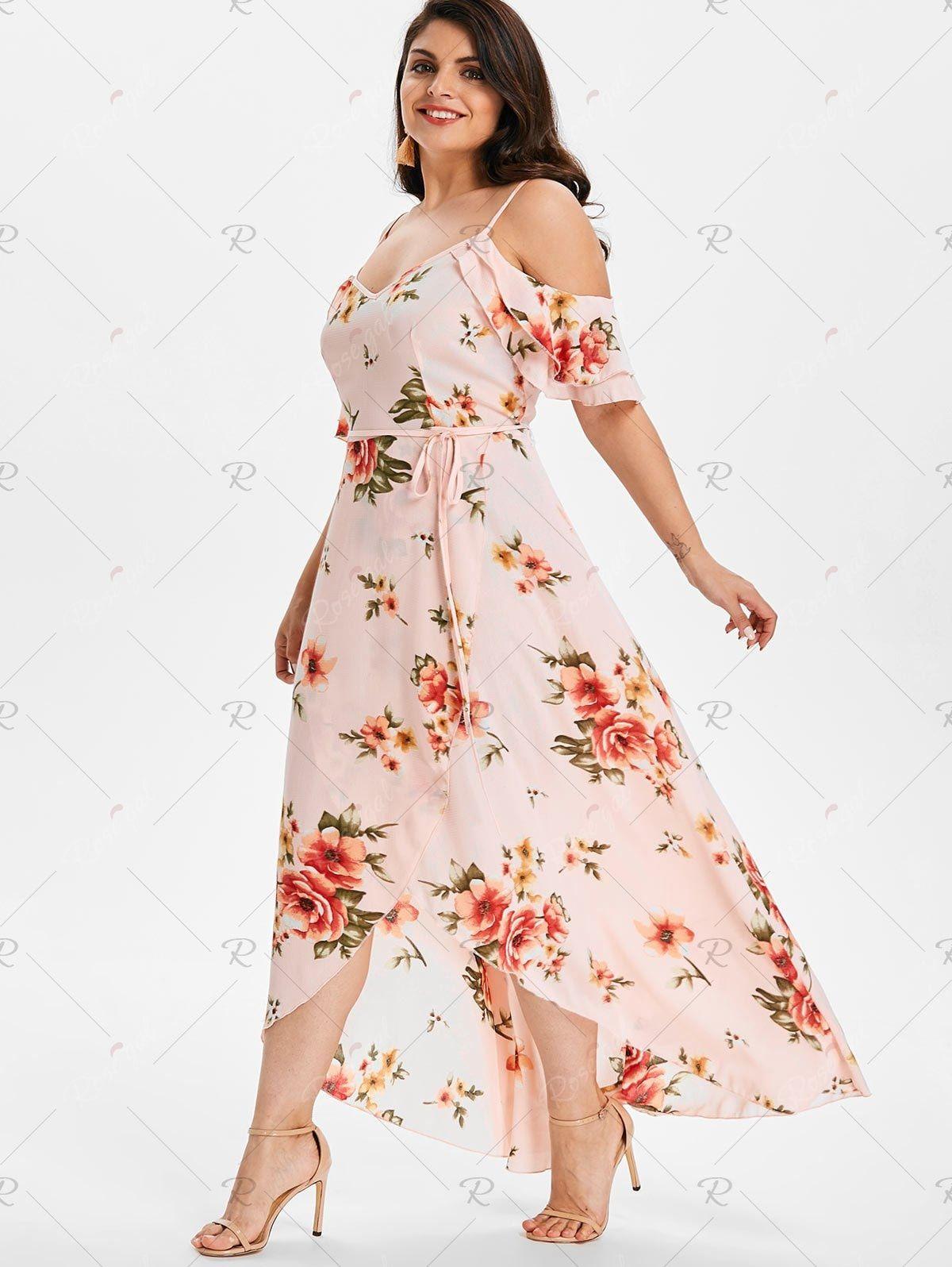 Plus Size Hawaiian Cold Shoulder Maxi Dress | Rosegal ...
