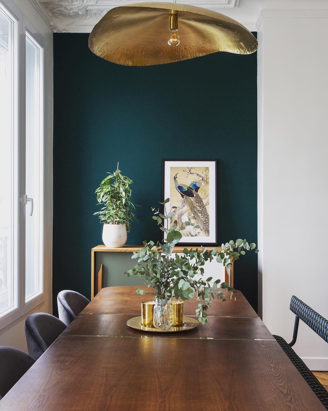 La belle salle manger de mon chantier paris 6 combo laiton vert sapin bois fonc - La salle a manger paris ...