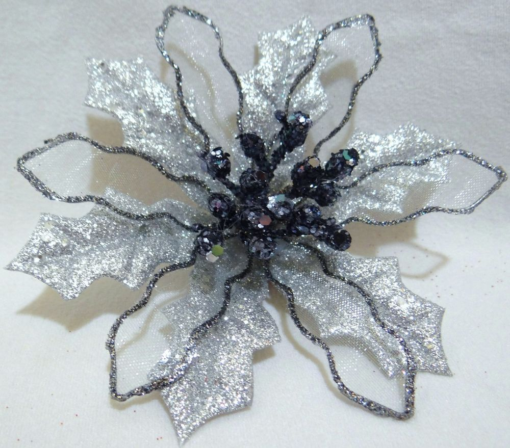 5 Wired Large Silver Black Glitter Poinsettia Flower Bauble Clip On Christmas Glitter Flowers Vintage Items Wedding Gifts