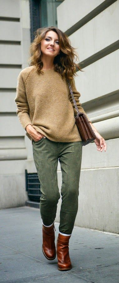 Textured sweater, olive jeans,  brown boots and bag