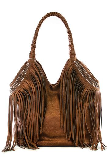 Cow Gypsy Purse Double Handle Rhinestone Studded Leather Fringe Western Bag