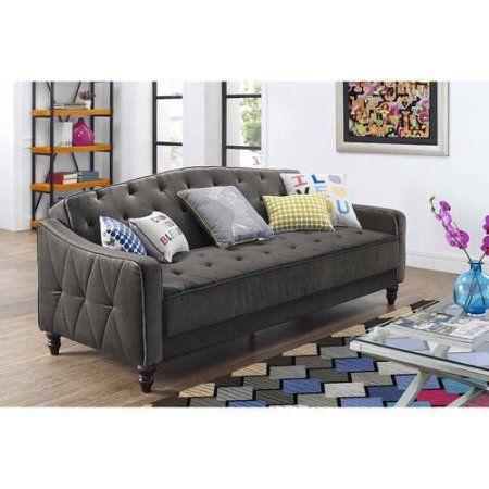 Novogratz Vintage Tufted Sofa Sleeper Ii Multiple Colors Grey Velour Walmart Com Tufted Sofa Cheap Sofas Sleeper Sofa