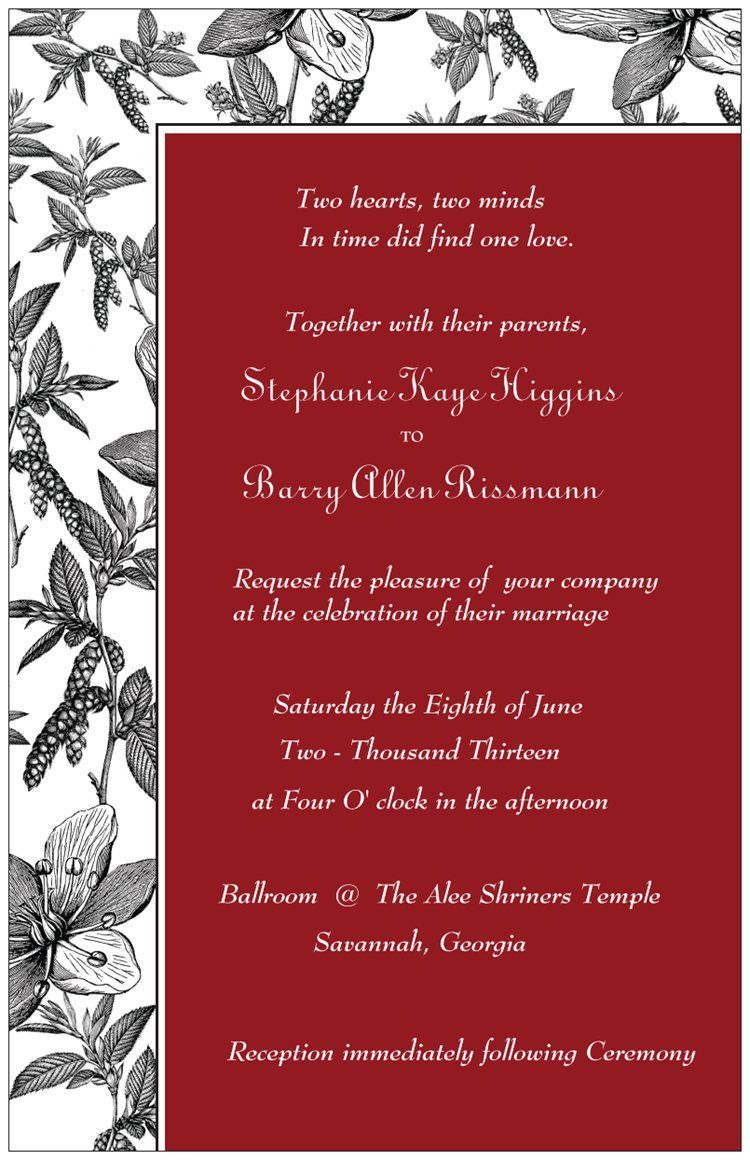 Black, White, and Red Wedding Invitations with Free White Envelopes ...