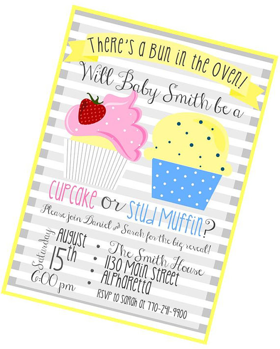 printable invitation baby gender reveal party cupcake or stud