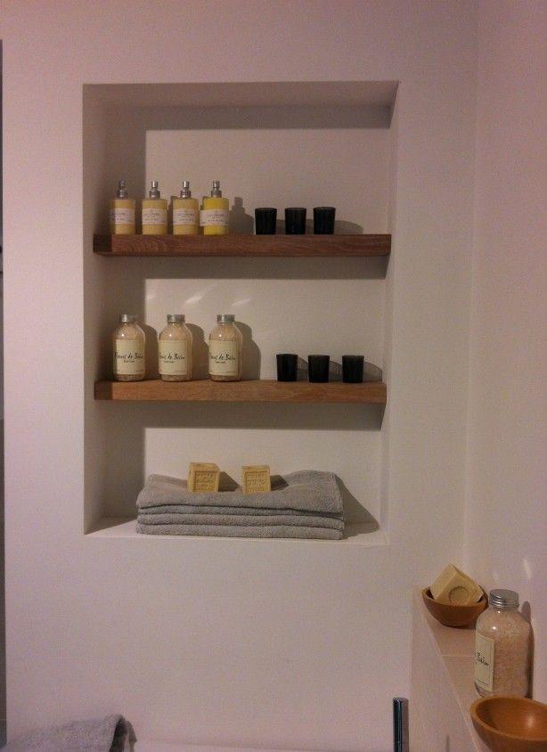Badkamer idee n nis nisje nisplanken badkamer idee n pinterest planken badkamer en - Decoratie van toiletten ...