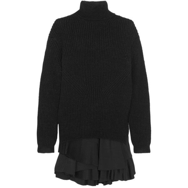 No. 21 Ribbed-knit sweater and pleated crepe mini dress set (£1,010) ❤ liked on Polyvore featuring dresses, black, crepe dress, ribbed knit dress, pleated dress, layered ruffle dress and layered dress