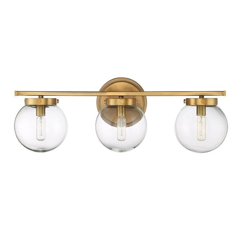 Photo of Carbon Loft Guillotin 3-light bathtub with natural brass, clear