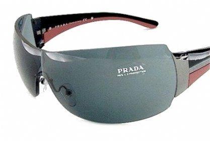 8ad2ff1d5d PRADA SPR54G 5AV-1A1 GUNMETAL RIMLESS SHIELD « Impulse Clothes Prada  Sunglasses