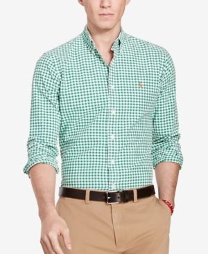 d296786c4 Polo Ralph Lauren Men s Long-Sleeve Oxford Shirt - White Green XS ...
