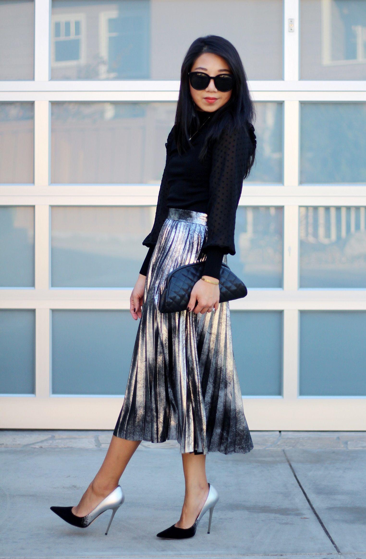 24d198baa5 poshclassymom-holiday-dress-trend-outfits-metallic-pleated-midi-skirt-lace- turtleneck-top-how-to-wear-metallic-jimmy-choo-anouk-degrade-heels-chanel-clutch-  ...