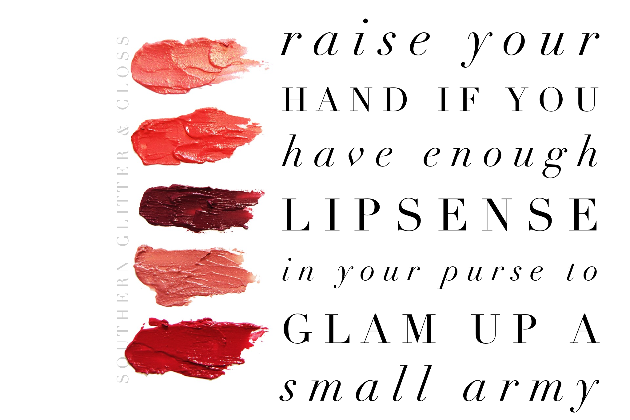 Raise your hand if you have enough Lipsense in your purse to glam up a small army- Lipsense Facebook Party Gra…   Lipsense, Facebook party ...