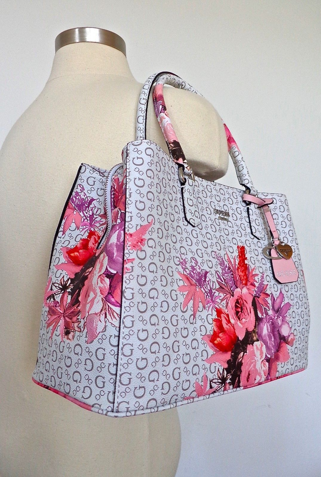 Bag Guess Handbag Ashville Multi Satchel Womens Floral Tasche White rI6rBpq