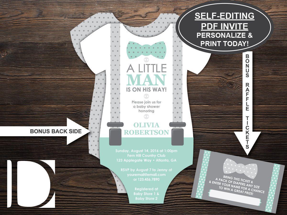 Little Man Baby Shower Invitation, Onesie Invitation, Bow Tie ...
