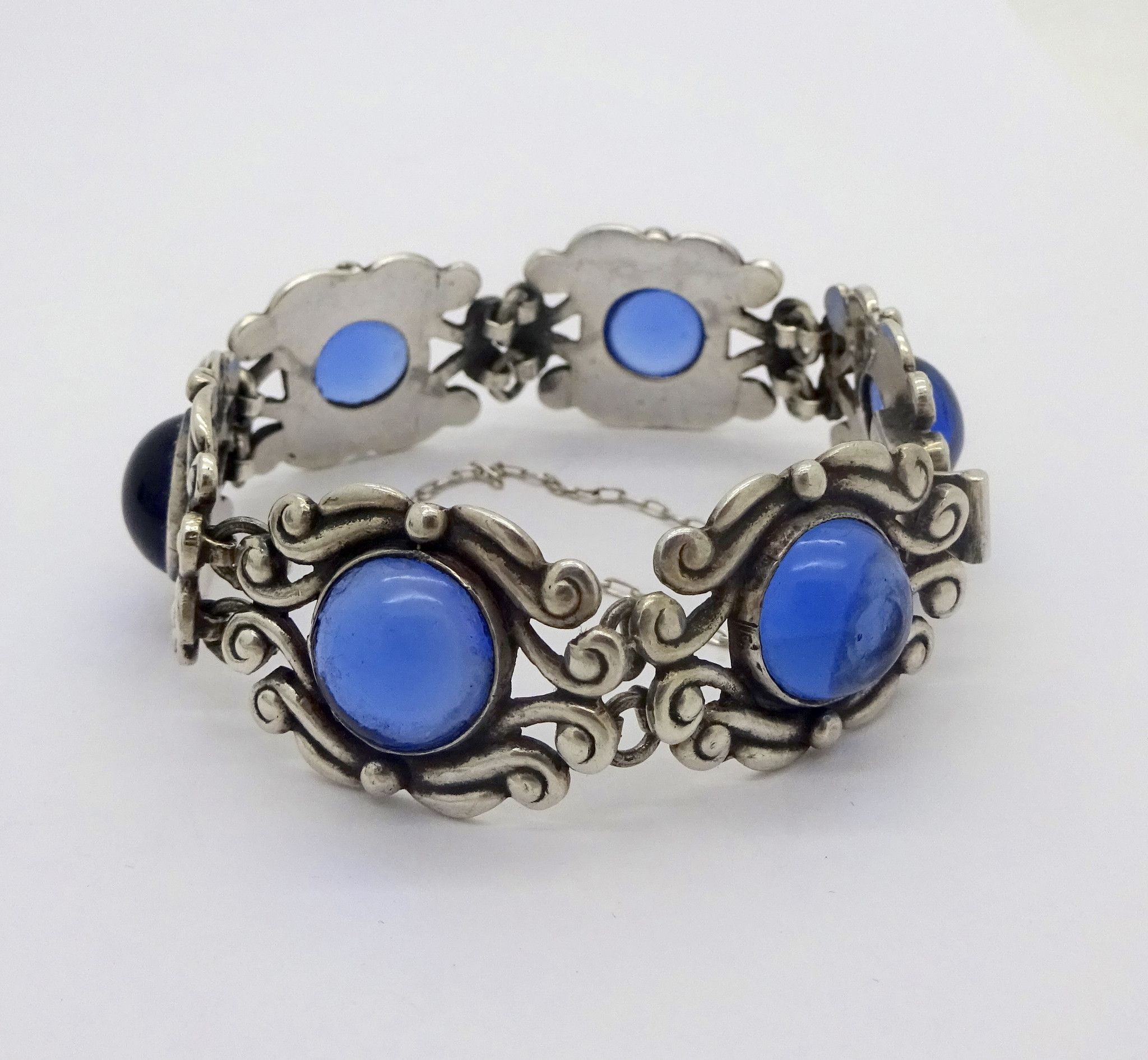 mexico bracelet sterling silver big sapphire pin los cabochons castillo glass taxco blue
