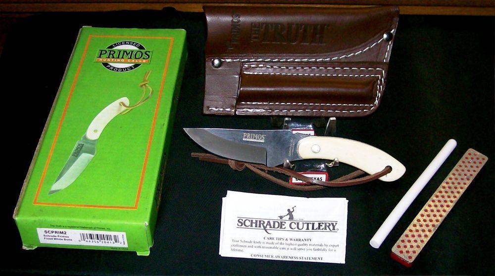 Schrade SCPRIM2 Knife Set Circa-2005 Will Primos W/Sheath & 2 Stones