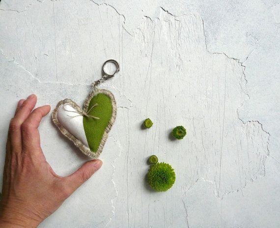 Keychain  White and Green Heart. Embroidered by HouseWithHeart, $11.00