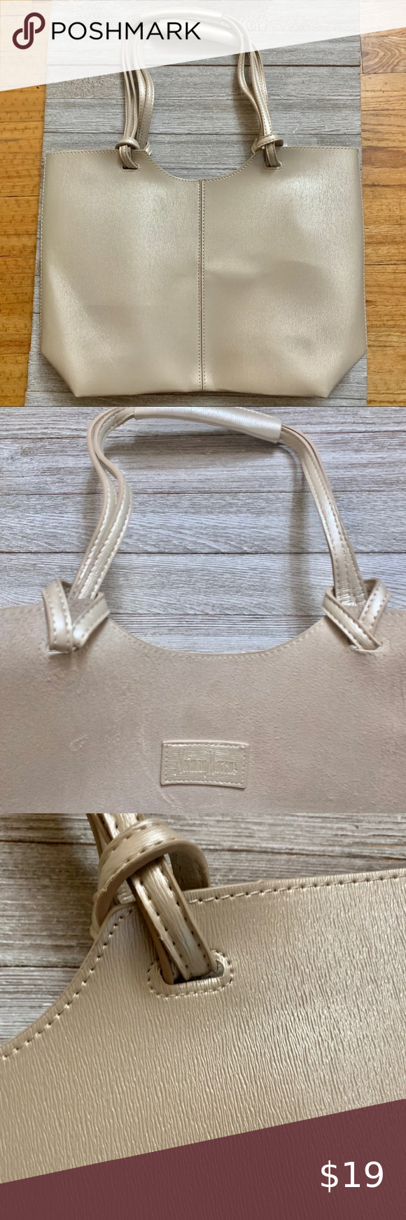 Neiman Marcus Gold Faux Leather Tote Bag New Leather Tote Bag Leather Tote Faux Leather