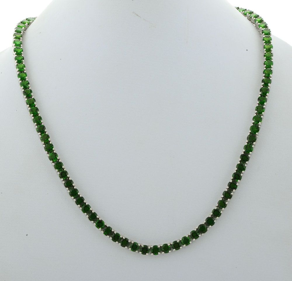 Chrome diopside 4585 cttwmstone tennis necklace in 925 chrome diopside 4585 cttwmstone tennis necklace in 925 sterling silver djoyer tennisgraduated aloadofball Image collections