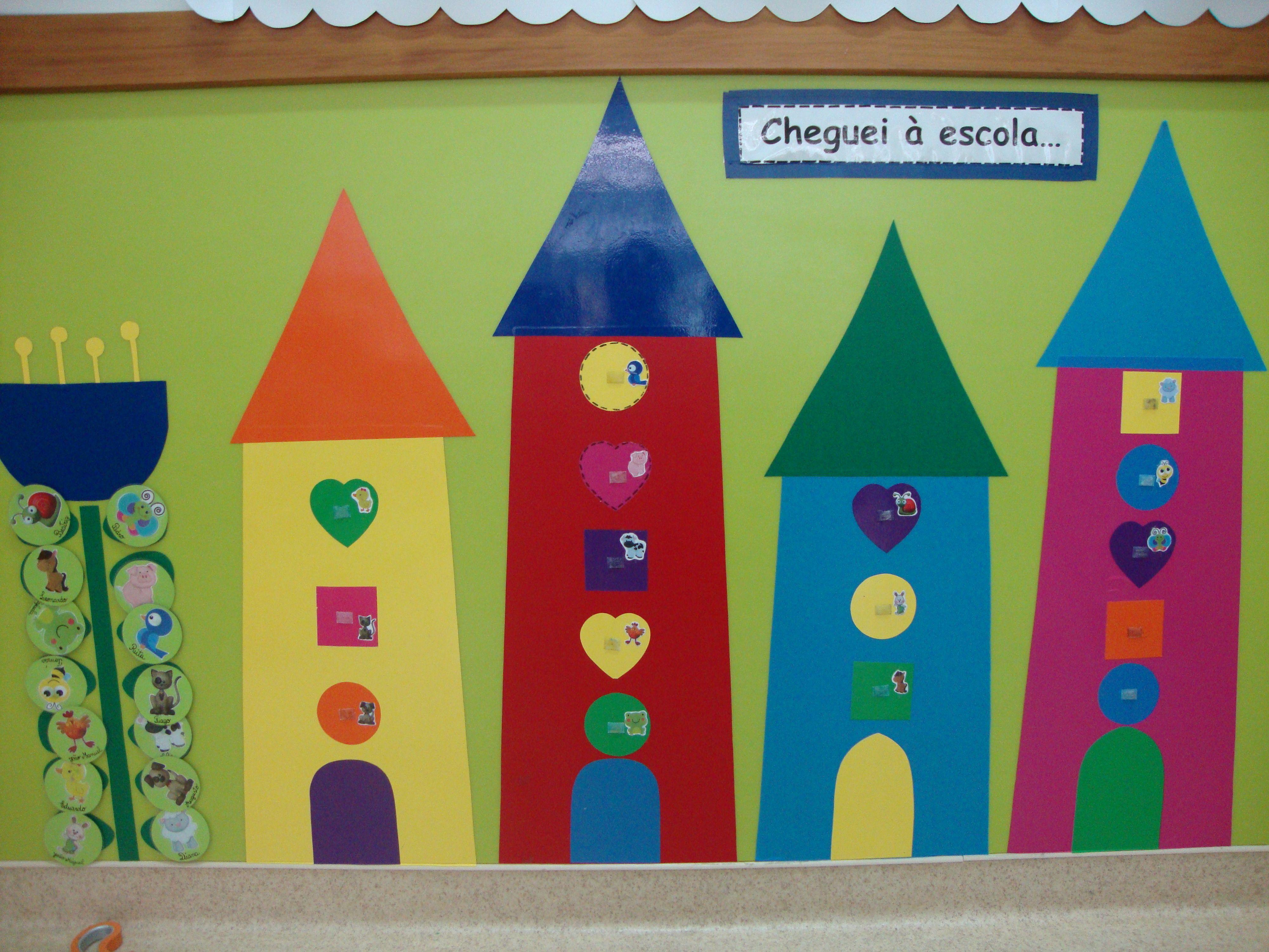 Quadro das Presenças, cada crianças tinha um símbolo (animal)que marcava quando chegava à escola(sala 2 anos).