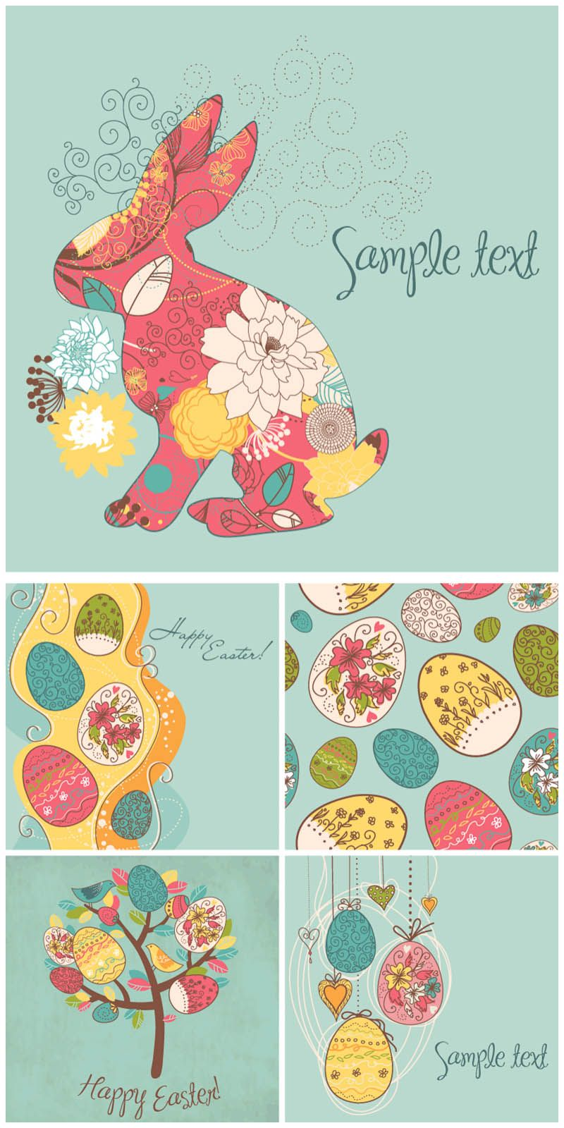 Styled Easter Cards Vector  Free Vector Graphic Resources
