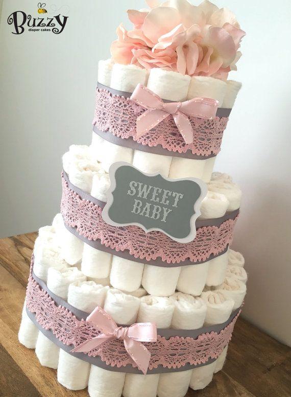 pink and gray baby girl diaper cake girl von buzzydiapercakes windeltorte pinterest. Black Bedroom Furniture Sets. Home Design Ideas
