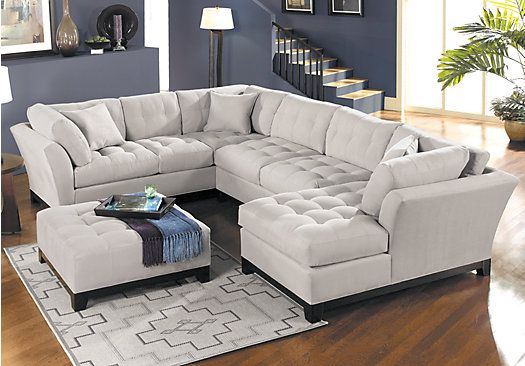 Shop For A Cindy Crawford Home Metropolis Platinum Right 4 Pc Sectional LivingRoom At Rooms To