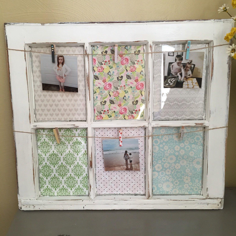 Vintage /salvaged white 6 pane window, Picture frame, original paint ...