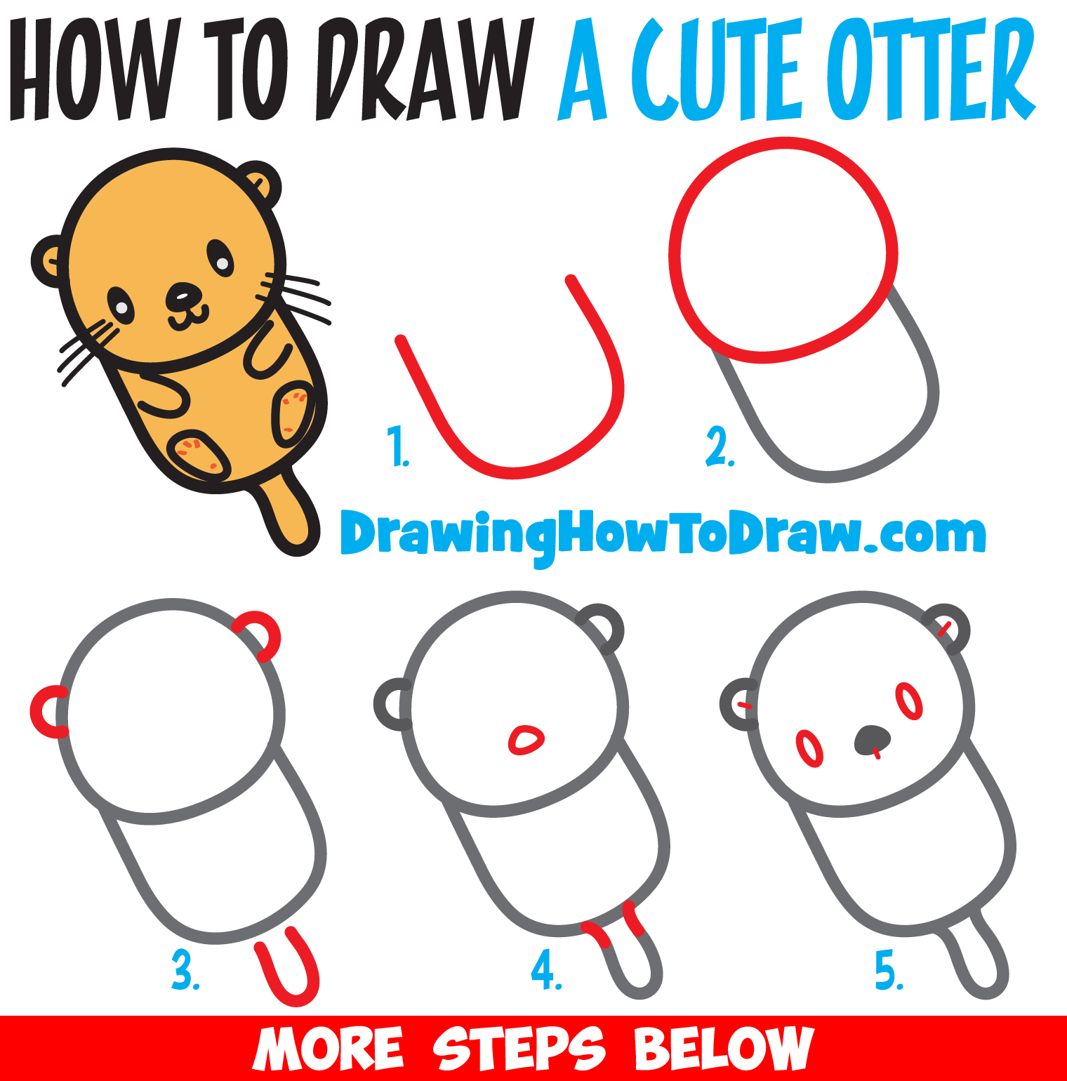 How to Draw a Cute Kawaii Cartoon Otter Floating Down the ...