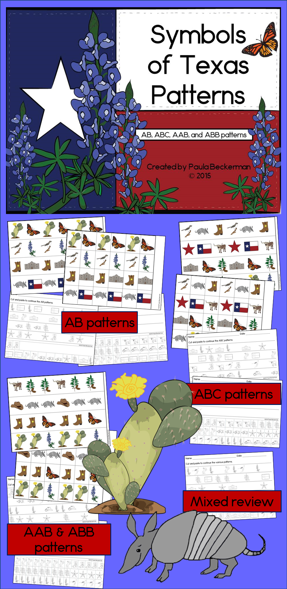 Texas Symbols Math Center With Ab Abc Aab Abb Patterns Fun