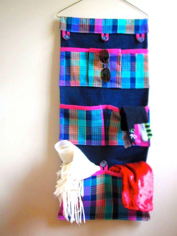Fabric Pocket Organizer For Wall Or Closet Handmade And