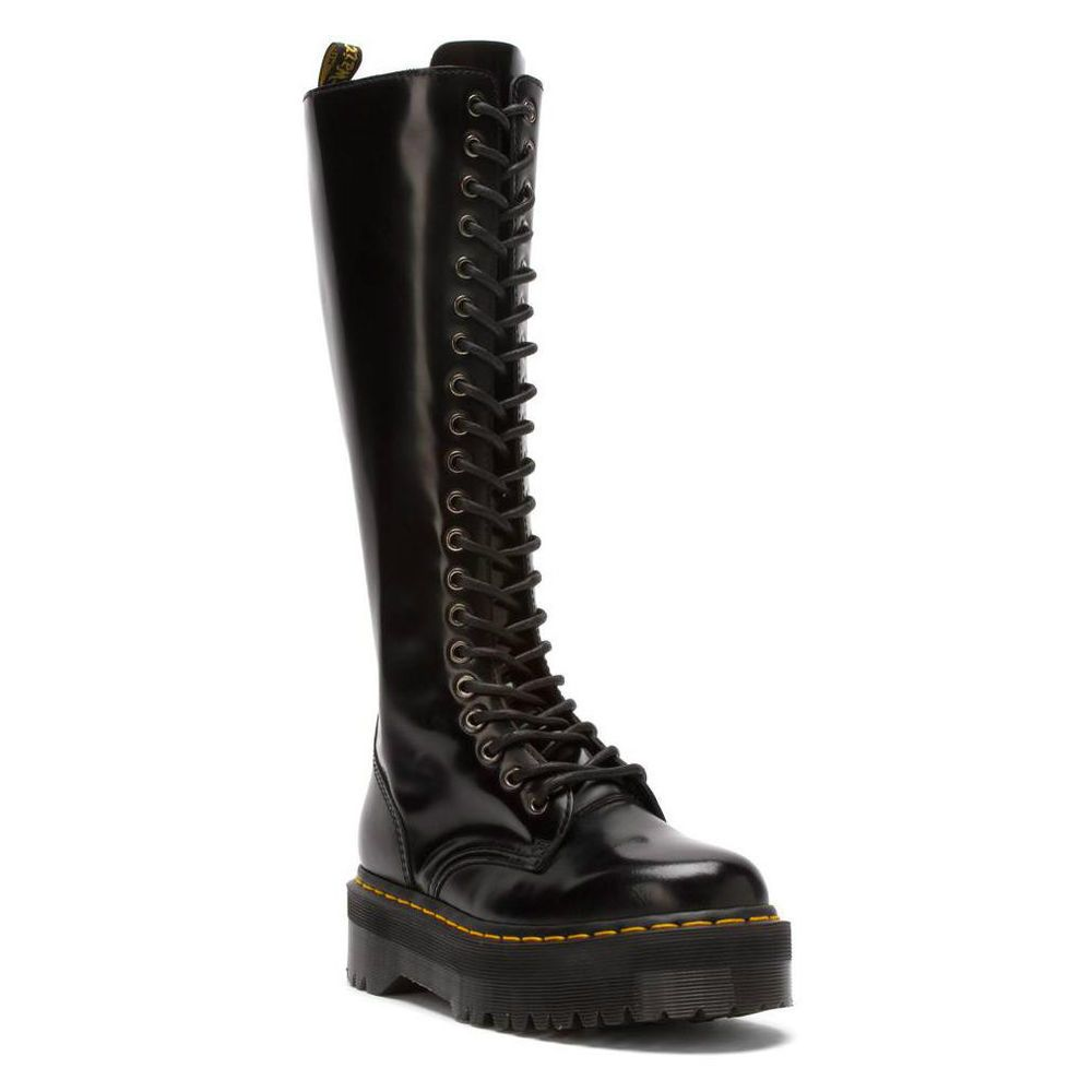 Doc Dr. Martens Britain 20 Eye Knee High Aggy Style BLACK Smooth Boots US 10
