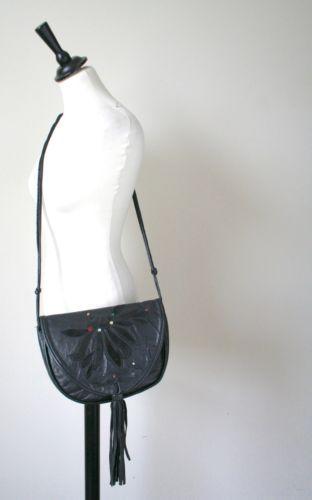 VINTAGE-Cross-body-Borsa-Bag-Biker-Pelle-Nera-1980s-SMALL